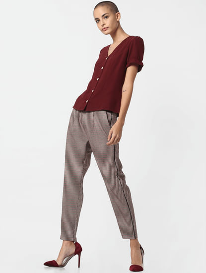 Brown Houndstooth Mid Rise Slim Fit Pants