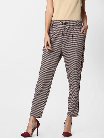 Brown Houndstooth Mid Rise Slim Fit Pants