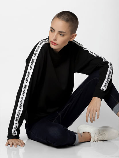 Black Tape Detail Sweatshirt