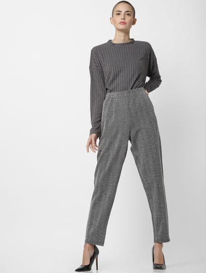 Dark Grey High Waist Regular Fit Pants