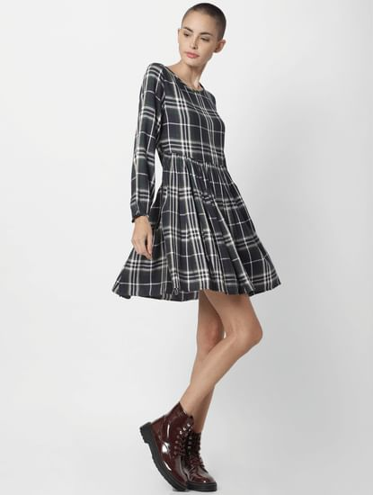 White Check Fit & Flare Dress