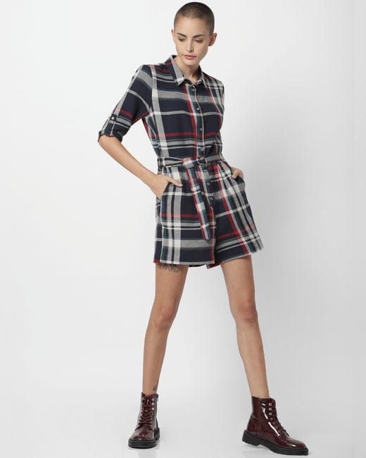Navy Blue Check Playsuit