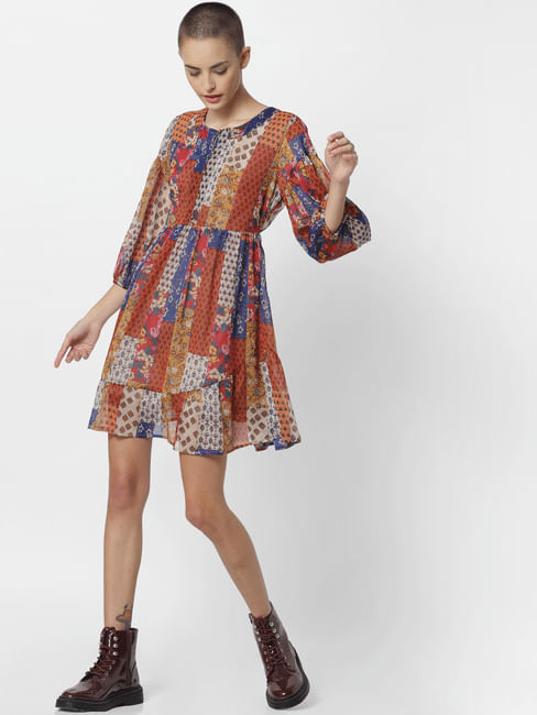 Brown All Over Print Fit & Flare Dress