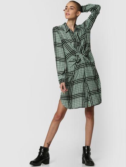 Green Check Front Knot Shirt Dress