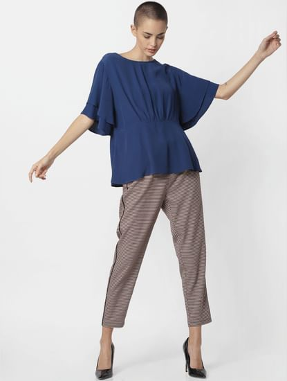 Blue Flared Sleeves Top