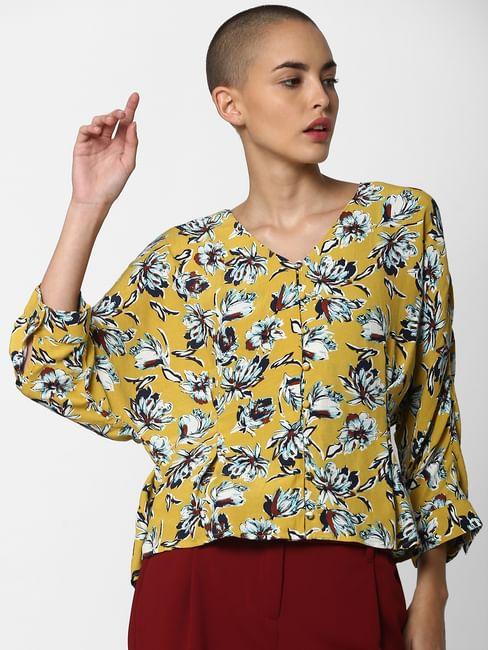 Mustard Floral Print Top