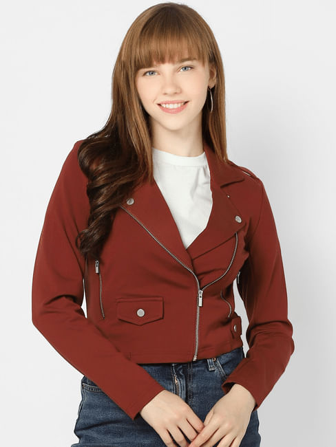 Deep Red Biker Jacket