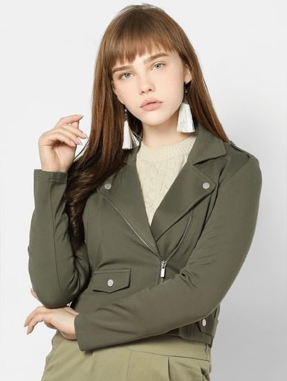 Green Zip Detail Biker Jacket
