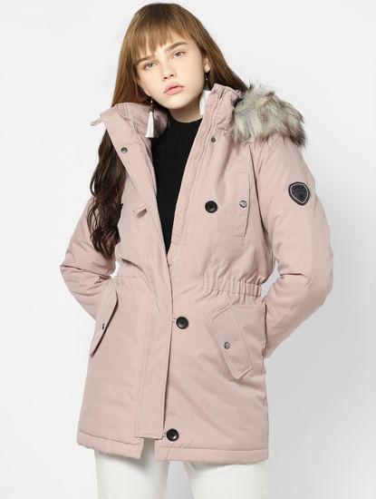 Pink Hooded Parka Jacket