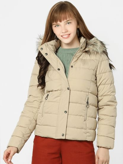 Beige Quilted Puffer Jacket