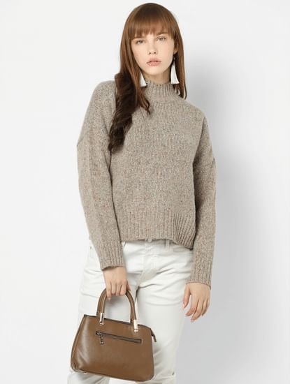 Beige Drop Shoulder Pullover