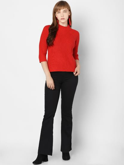 Red Turtle Neck Pullover