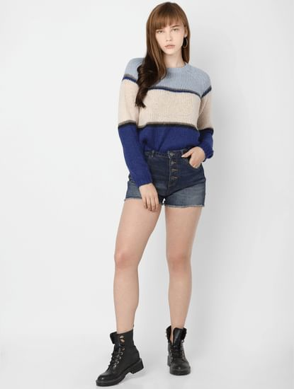 Blue Striped Colourblocked Pullover