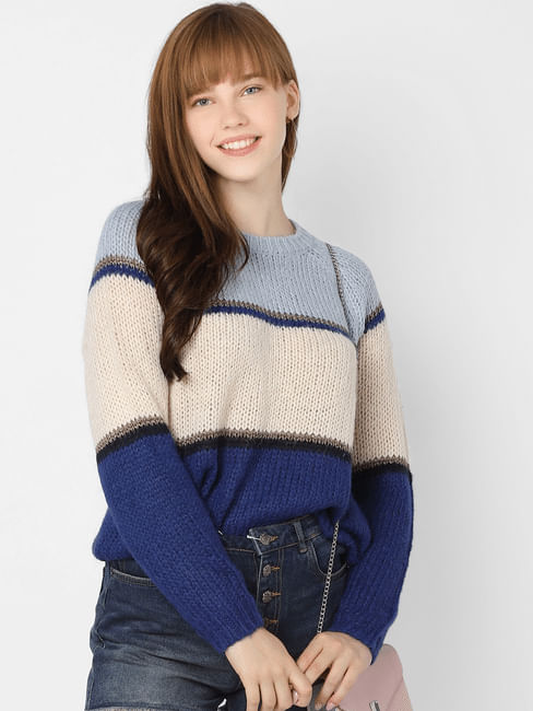 Blue Striped Colourblocked Pullover