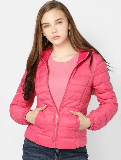 Pink Quilted Hooded Puffer Jacket
