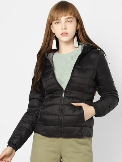 Black Quilted Hooded Puffer Jacket