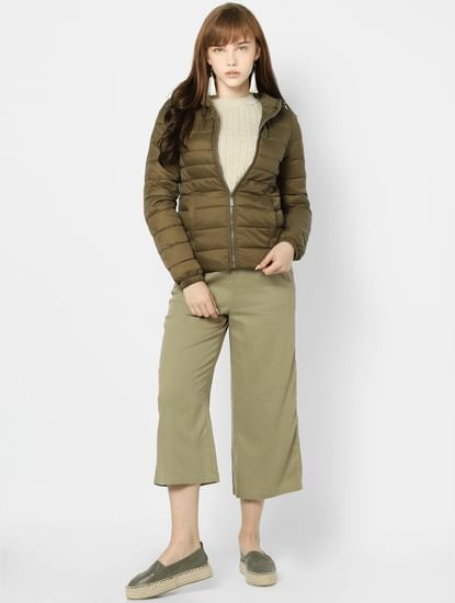 Olive Green Quilted Hooded Puffer Jacket