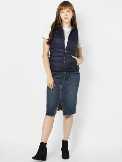 Dark Blue Sleeveless Puffer Jacket