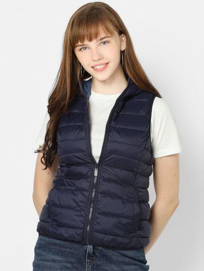 Dark Blue Sleeveless Puffer Jacket