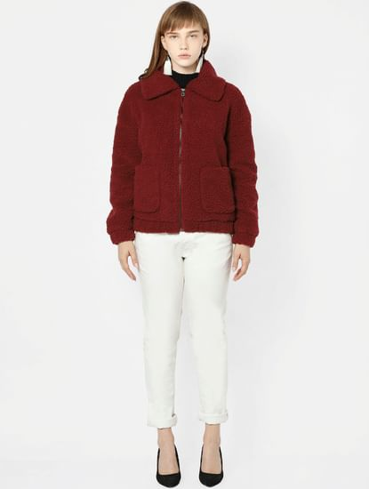 Dark Maroon Sherpa Jacket