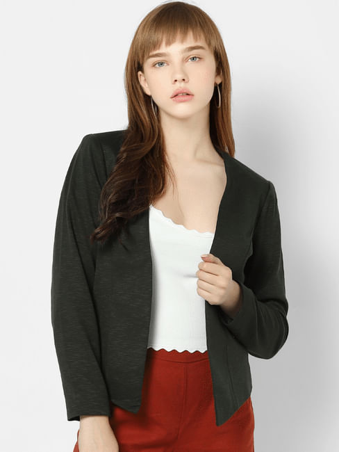 Dark Green Self Design Cropped Blazer