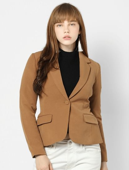 Brown Short Fitted Blazer