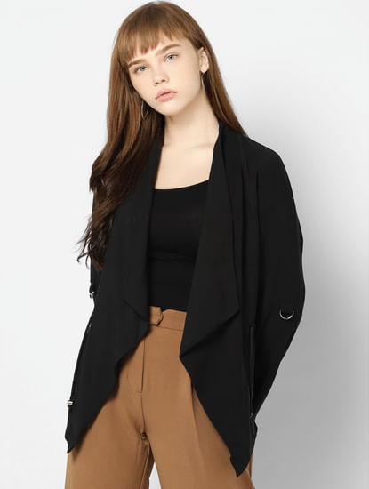Black Shawl Collar Open Blazer