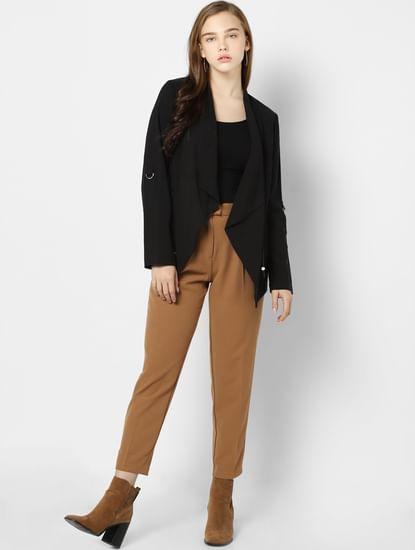 Black Shawl Collar Open Blazer