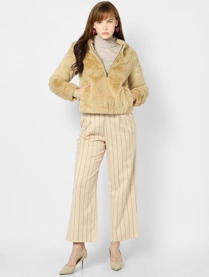 Beige Faux Fur Hooded Jacket