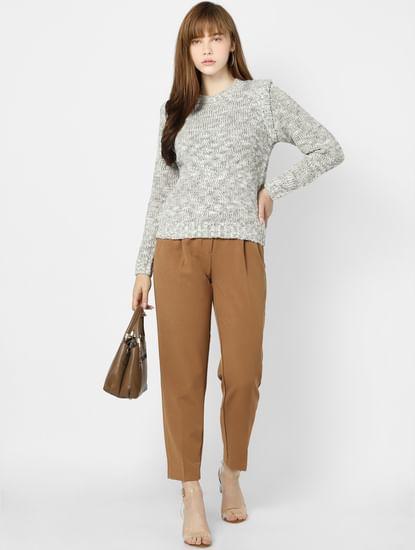 Brown High Waisted Carrot Leg Pants