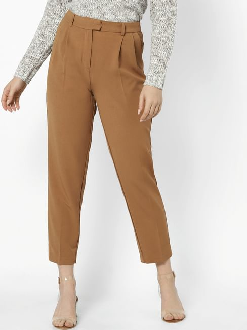 Brown High Waisted Carrot Leg Pants