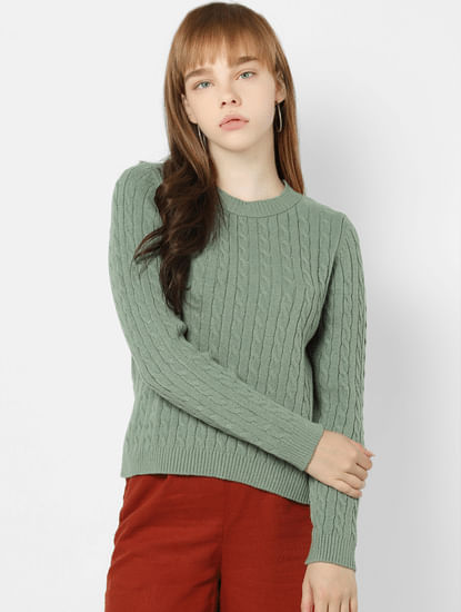 Green Cable Knit Pullover