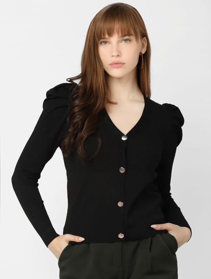 Black Puffed Sleeves Cardigan