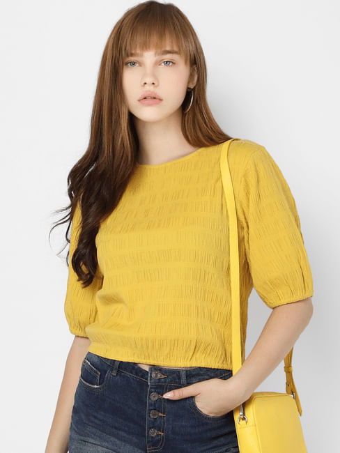 Yellow Self Design Cropped Top