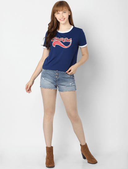 Blue Typographic Print T-Shirt