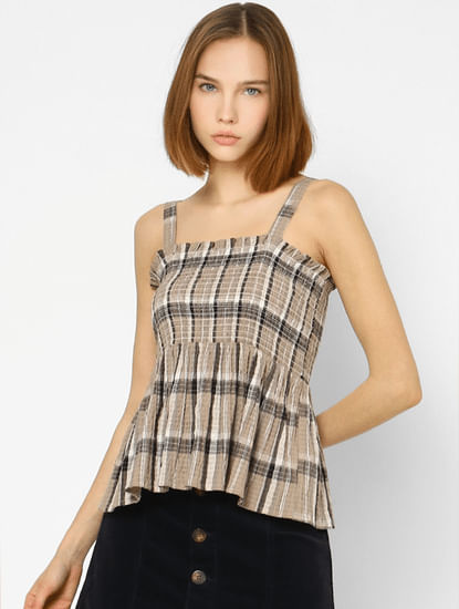 Beige Check Smock Top