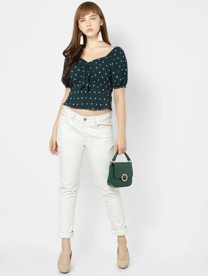 Green Polka Dot Cropped Top