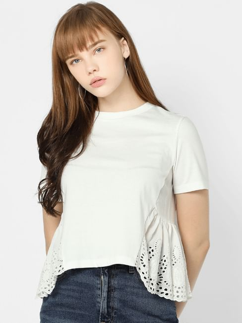 White Schiffli Detail Top