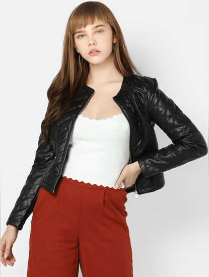 Black PU Bomber Jacket