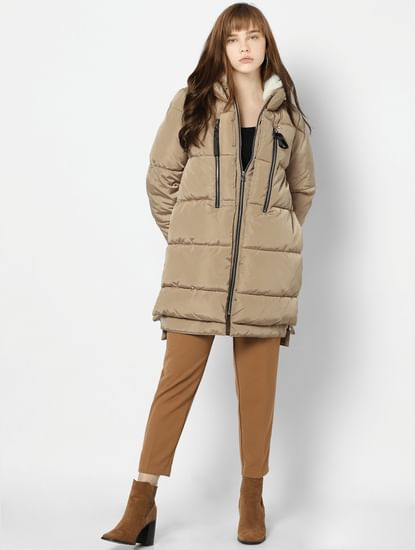 Light Brown Quilted Puffer Long  Jacket