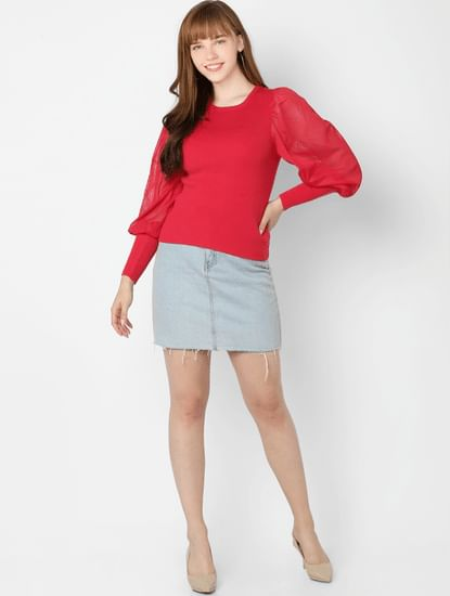 Red Organza Detail Pullover