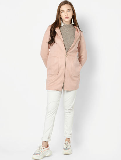 Light Pink Faux Suede Hooded Jacket
