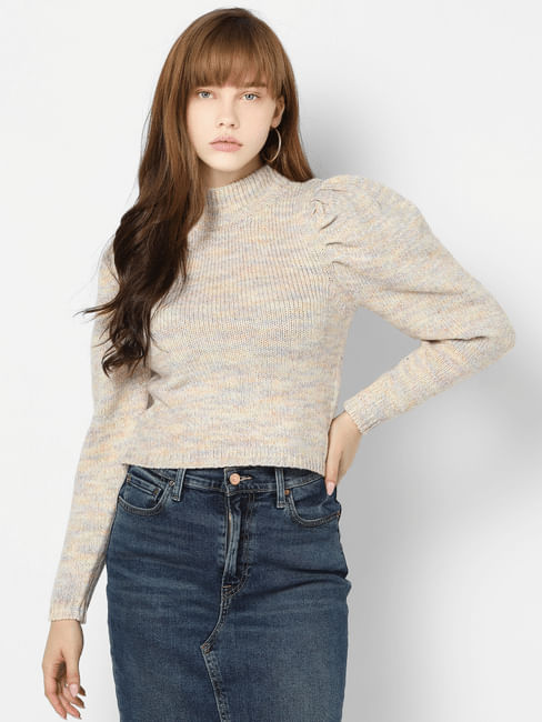 Beige High Neck Cropped Pullover