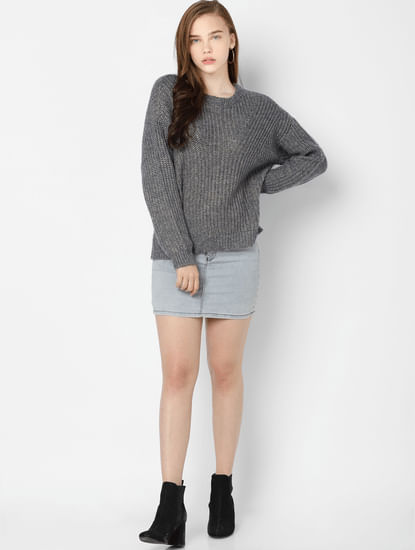 Grey Drop Shoulder Pullover