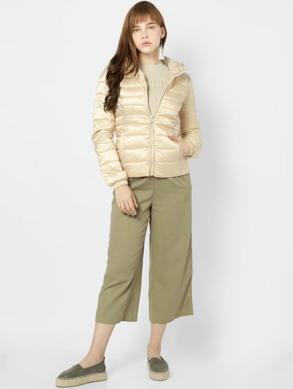 Beige Hooded Puffer Jacket