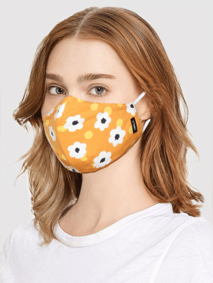 Orange Floral Print Mask with N95 Replaceable Filters