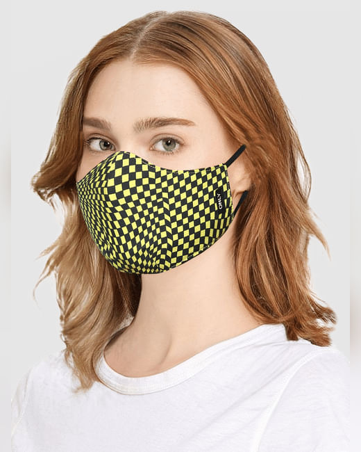 Yellow Check Print Mask with N95 Replaceable Filters