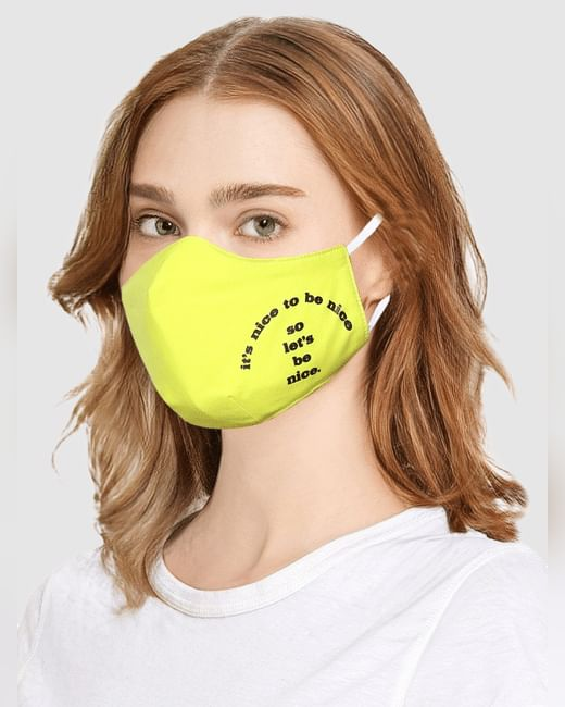 Neon Yellow Slogan Print Mask with N95 Replaceable Filters
