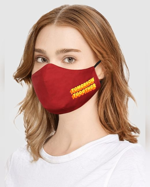 Maroon Text Print Mask with N95 Replaceable Filters