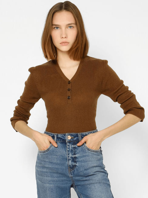 Brown V-neck Knit Top